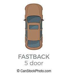 平坦な上面, ベクトル, 5, ドア, fastback, 光景, アイコン