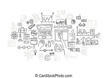 平局, 財政, 事務, 心不在焉地亂寫亂畫, 圖表, 手, 圖表, elements.