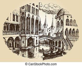 平底小船, 威尼斯