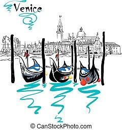 平底小船, 威尼斯, 矢量, italia, 瀕海湖
