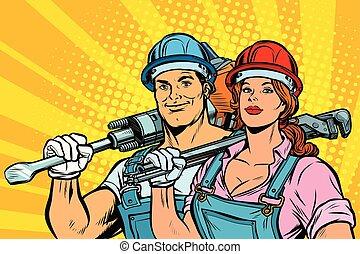 平等, 労働者, woman., 人, 労働, day., 強い