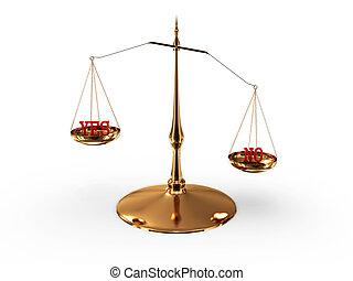 平衡規模, 由于, 是, 以及, 不, 被隔离, 在懷特上, 背景。, 3d