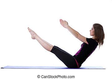 平衡, 信奉瑜伽者, 微笑, 工作室, 靈活