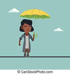 平衡, 婦女, tightrope., 事務, african