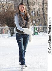 平静, 妇女, 年轻, 冰滑冰