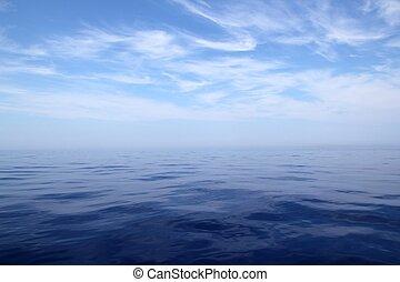 平静, 海, 蓝色水, 大海, 天空, 地平线, 景色优美
