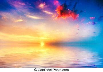 平靜, 海, 在, sunset., 美麗, 天空, 由于, 云霧