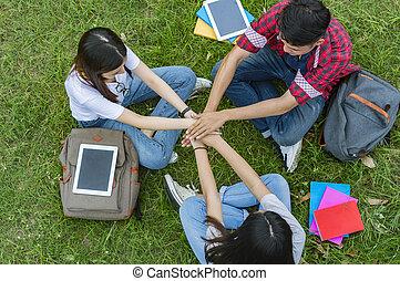 平面図, の, グループ, の, 生徒, 一緒に座る, 中に, ∥, garden.