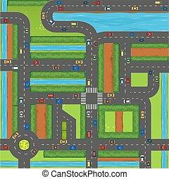 平面図, の, 自動車, 上に, 通り