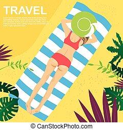 平面図, の, 若い女性, あること, 上に, 彼女, タオル, 上に, 熱帯 浜
