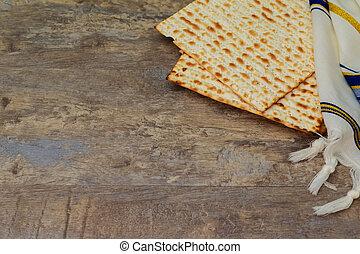 平面図, の, 過ぎ越しの祝い, バックグラウンド。, matzoh, ユダヤ人の 休日, bread