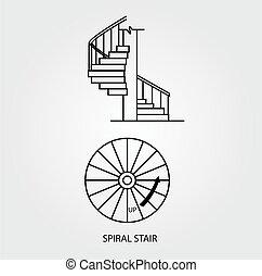 平面図, らせん状に動きなさい, 階段, 側