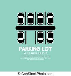 平面図, vector., たくさん, 駐車