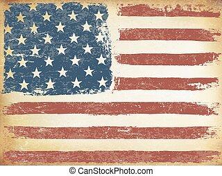 年を取った, template., orientation., バックグラウンド。, ベクトル, アメリカ人, 横, グランジ, themed, 旗