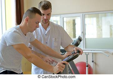 年輕人, 上, 練習自行車, 由于, 教師