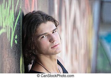年輕人, 前面, graffitti, 牆