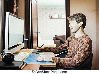 年輕人, 在家, 使用, a, 電腦, 自由職業者, 開發者, 或者, desig