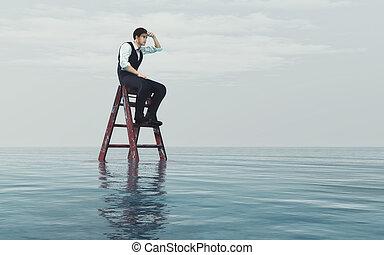 年輕人, 坐, 上, a, 梯子