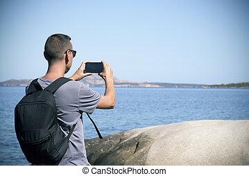 年輕人, 拍照片, 在, 撒丁島, italy