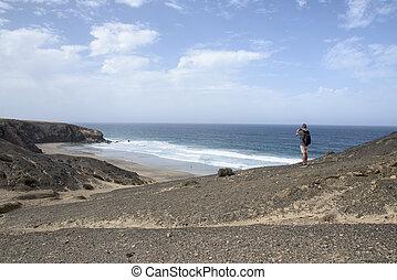 年輕人, 拍照片, 在, fuerteventura, 西班牙