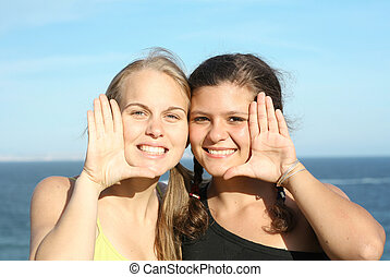 年輕人, 由于, 美麗, 微笑, 白色, 完美的牙齒