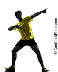 年輕人, 短跑運動員, 賽跑的人, 跑, 黑色半面畫像