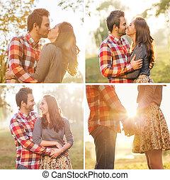 年輕夫婦, 在愛過程中, 步行, 在, the, 秋天, 公園藏品手, lo