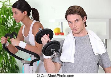 年輕夫婦, 在, 體操