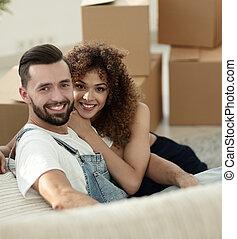 年輕夫婦, 在, a, 新, apartment., 概念, ......的, 身心健康