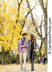 年輕夫婦, 在, the, 秋天, 公園