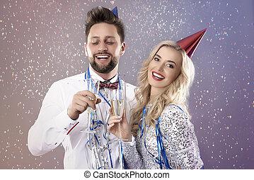年輕夫婦, 慶祝, the, 除夕