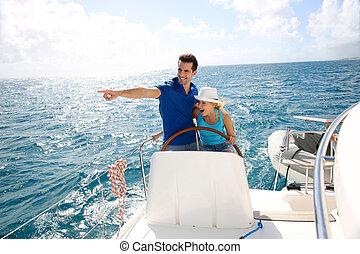 年輕夫婦, 駕駛, 上, a, 游艇, 在, 加勒比海海