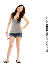 年輕婦女, 亞洲人, 穿, 熱的褲子, 矯柔造作