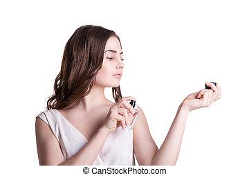 年輕婦女, 享用, a, 氣味, ......的, the, 香水