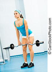 年輕婦女, 做, 身体建筑物, 在  體操裡