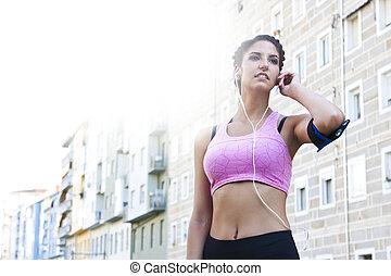 年輕婦女, 做, 運動, 在戶外