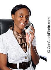 年輕婦女, 在電話上的談話