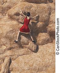 年輕婦女, 在, 紅的衣服, 以及, 高跟鞋