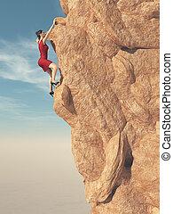 年輕婦女, 在, 紅的衣服, 以及, 高跟鞋, 登山運動員