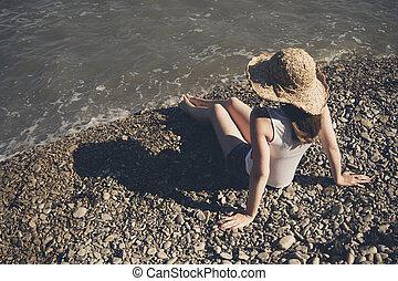 年輕婦女, 在, a, 帽子