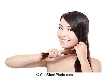 年輕婦女, 愉快, 接觸, 她, 頭髮