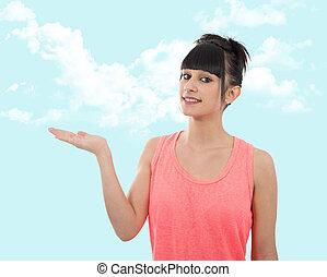 年輕婦女, 提出, 模仿空間, 上, 她, 棕櫚