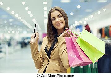 年輕婦女, 由于, 信用卡, 以及, 購物袋