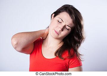 年輕婦女, 由于, 僵硬, 脖子