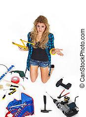 年輕婦女, 由于, 工具, 無助