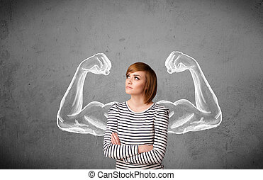 年輕婦女, 由于, 強有力, 肌肉, 武器