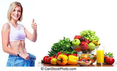 年輕婦女, 由于, 水果, 以及, vegetables.