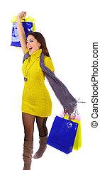年輕婦女, 由于, 購物袋
