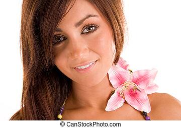 年輕婦女, 由于, a, flowerr