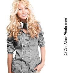年輕婦女, 由于, headphones.